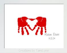 Heart Shaped Handprint Art - Personalized Baby Nursery, Child's Room, Valentine's Day Gift for Parent, Grandparent