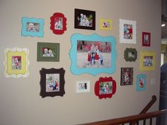 Wall collage with colors painted in room's accent colors to bring a pop of color. could use michael's plain wood plaques with edges like these