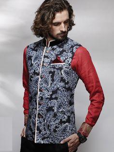 Printed Nehru Jacket on Jute Fabric