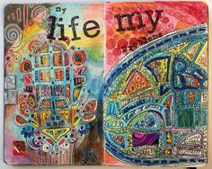My life, an art Journal page spread by Peony and Parakeet