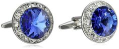 Stacy Adams Men's Silver Crystal Rondell Cuff Link, Royal, One Size