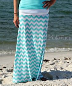 Your Own Maxi Tiffany Blue Chevron Maxi Skirt - very easy method, no pattern needed, can make for women or girls in less than 45 mins ; Diy Maxi Skirt, Maxi Skirt Tutorial, Chevron Maxi Skirts, Maxi Dresses, Dress Skirt, Dot Dress, Skirt Outfits, Diy Clothing, Sewing Clothes