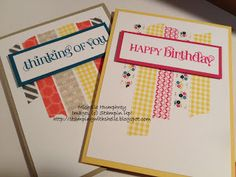 Michelle's washi tape cards feature Curly Cute, Epic Day Washi Tape, & Gingham Garden Washi Tape.