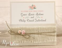 Personalised Wedding Invitation Pack Vintage Ribbon Rustic Shabby Chic Cream