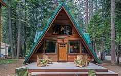 Adorable a-frame cabin on the west shore of lake tahoe cabin homes, log hom A Frame Cabin, A Frame House, Cabin Homes, Log Homes, Cabin In The Woods, Cabin On The Lake, Cabins And Cottages, Cozy Cabin, Wooden House