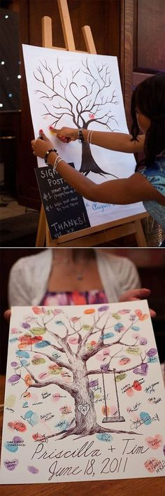 thumb print tree wedding guest book ideas