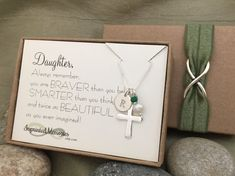 Daughter Gift - First Communion Gift for Daughter Baptism Gift - Confirmation Necklace - Daughter Necklace Daughter Jewelry - Religious Jewelry Pearl Cross Necklace - Holy Communion - Catholic Girl - Christian Girl Daughter, Always remember, you are BRAVER than you believe, SMARTER