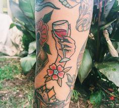 Traditional wine tattoo | Ben Johnson | Electric Hand Tattoo in Nashville, TN