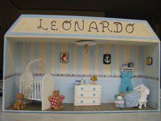 Escena de cuarto de bebe en miniatura