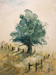 """Landscape, Print of Original Watercolor Painting matted 10x8 and ready to frame 14x11, to be used in the TV series """"Us & Them"""" tree."""