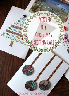 DIY upcycled Christmas card tips - for those of us who save all those pretty Christmas cards from year to year, this is a great way to reuse and recycle them into a craft! #ArtCraft
