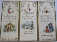 Used Vintage Christmas Card Silent Night w Nativity Joy to the World w Wisemen
