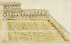 The façade of a villa with a colonnade and walled garden | Anonymous Italian, 16th century