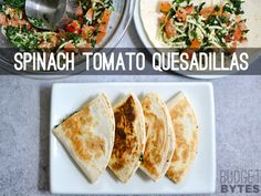 Fast and easy Spinach Tomato Quesadillas are a great way to increase the nutrition and flavor of a plain cheese quesadilla. Step by step photos.