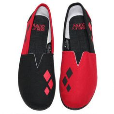 "Whether your going out on a date with your favorite ""Joker"" or just chasing Batman around Gotham, these Harley Quinn slip on shoes are a comfortable choice in footwear! These shoes have a canvas upper with elastic for easy on and off, and feature a mixed rubber outsole for flexibility. These shoes are unisex and come in shared sizes.  Please consult the size chart for shoe sizes."