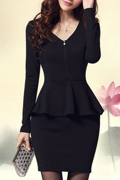 Only buy XL ol style women's v-neck solid color long sleeve dress Black at online work dres Cheap Dresses, Sexy Dresses, Fashion Dresses, Dresses For Work, Office Dresses, Sleeve Dresses, Classy Outfits For Women, Clothes For Women, Black Long Sleeve Dress