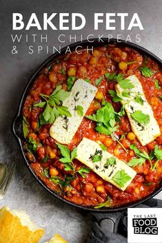 Baked feta in a rich and spicy tomato sauce with chickpeas and spinach. Warming and filling this is great for lunch or supper. Best Vegetarian Recipes, Vegetarian Entrees, Veggie Recipes, Healthy Dinner Recipes, Veggie Meals, Healthy Meals, Breakfast Recipes, Healthy Eating, Healthy Cooking