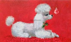 #1303 60s Norcross Mod Poodle Dog-Vintage Christmas Card-Greeting in | eBay