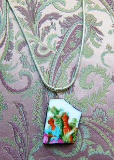 """Medaillonketten - Porzellan-Kette """"Dame im Garten"""" - ein Designerstück von…"""