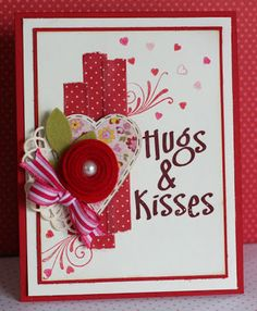 handmade Valentine card ... or anytime .,.. luv the pile-up of fun embellishments ... red washi tape with polka dots .... rolled felt rose ... striped gros grain bow ... die cut doily ... heart cut from patterned paper ... delightful card!