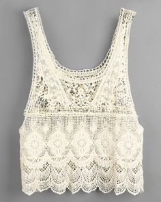 Solid Color Sleeveless Scoop Neck Hollow Out Design Women's Lace Tank TopVests & Tank Tops