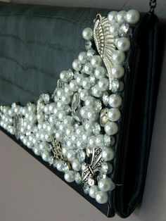 Recycle your junk jewelry into new accessories like this pearl & rhinestone clutch!