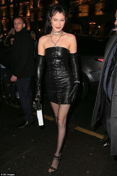 """Go hell for leather like Bella in Chrome Hearts x Bella  Click """"Visit"""" to buy #DailyMail"""
