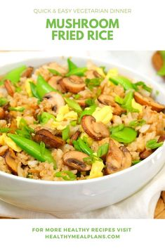 This Mushroom Fried Rice is a great way to use up leftover rice! It is a yummy vegetarian option that is hearty enough to enjoy for dinner! Easy Vegetarian Dinner, Vegetarian Options, Vegetarian Recipes, Healthy Recipes, Leftover Rice, Recipe Details, Mushroom Recipes, Clean Recipes, Kitchens