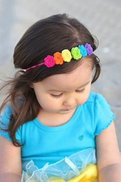 Felt flower rainbow headband by muffintopsandtutus on Etsy