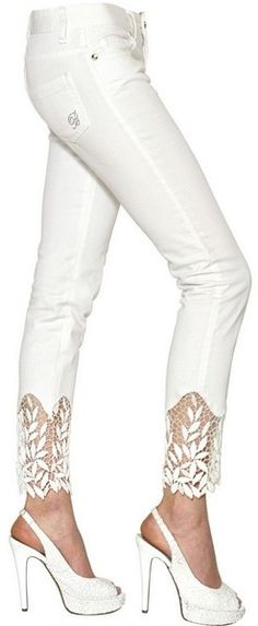 Cotton Macramè Cotton Denim Jeans...not a fan of those shoes with this but I love how delicate the jeans are.