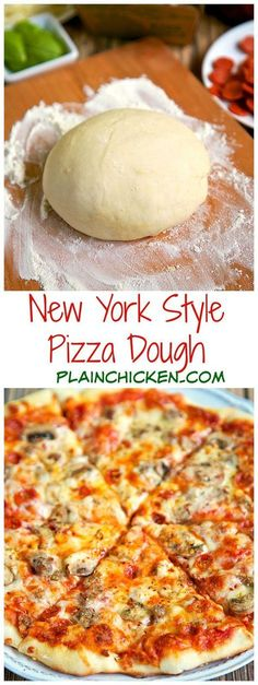 New York Style Pizza Dough Recipe - only 4 ingredients to make the best pizza dough - this dough is so easy to work with! Make the dough and refrigerate until ready to use. Can make up to 3 or 4 days in advance. Come get tips to make THE BEST pizza! New York Style Pizza Dough Recipe, Best New York Pizza Dough Recipe, Restaurant Style Pizza Dough Recipe, Pizza Dough Recipe In Grams, Tasty Vegetarian, Pizza Recipes, Cooking Recipes, Cake Recipes, Do It Yourself Food