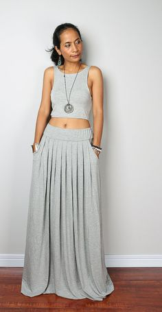 Grey Skirt -  Long Heather Grey Skirt - Maxi Skirt : Urban Chic Collection No.2