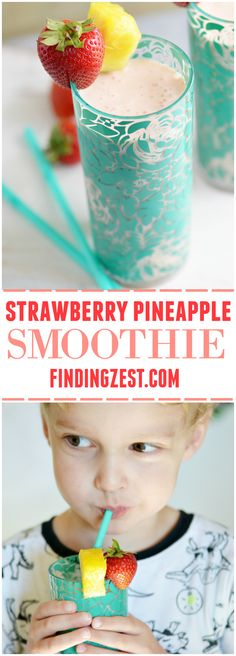Learn how to keep your produce fresh longer, plus get a recipe for a refreshing strawberry pineapple smoothie. It is a perfect breakfast or snack option! Energy Smoothies, Smoothies For Kids, Apple Smoothies, Yummy Smoothies, Breakfast Smoothies, Yummy Drinks, Juice Drinks, Refreshing Drinks, Strawberry Pineapple Smoothie
