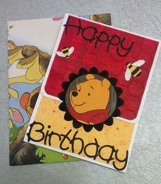 Handmade Pooh card from thrift shop children's books.