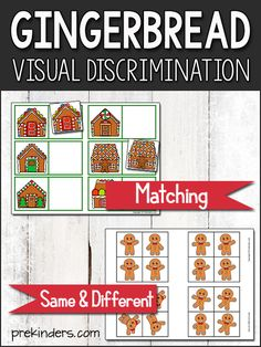 This Gingerbread Matching Game and Gingerbread Same & Different Game will help children practice visual discrimination skills. Use these with your Gingerbread Theme! Look here for more Visual Discrimination Printables! Grab your FREE printable here! 4 Year Old Activities, Christmas Activities For Kids, Preschool Christmas, Preschool Learning Activities, Free Preschool, Language Activities, Preschool Activities, Christmas Art, Teaching Resources