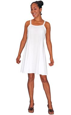 Rayon Short Ribbon Strap Dress-Very popular style, shaped to fit well. Flairs below the waist. Ties in back.