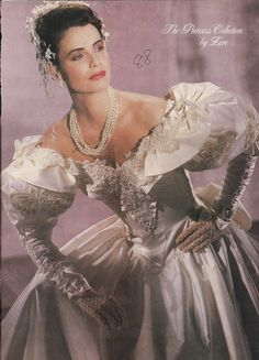 Typical example of the excesses--especially in bridal wear--of the 1980s Wedding Dress, Bridal Wedding Dresses, Wedding Pics, Bridal Style, Wedding Styles, Vintage Bridal, Vintage Weddings, Beautiful Wedding Gowns, Headpiece Wedding