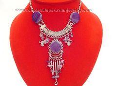 Peruvian Purple Agate Stones Alpaca Silver Necklacehttp://www.wholesaleperuvianjewelry.com