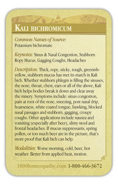 Homeopathic Kali bich