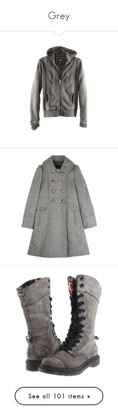 """""""Grey"""" by tessa-moon on Polyvore featuring jackets, outerwear, hoodies, sweaters, coats, coats & jackets, green puffer coat, puff coat, button coat and wool blend coat"""