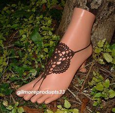 Brown Barefoot Sandals, Foot Jewelry, Anklet, Foot Wear, Beach Pool, Hippie, Bohemian, Steampunk Sandal, Crochet