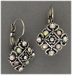 Earring Silver Euro Clasp Diamond Shape Aurora Borealis Crystals