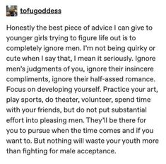 Actually i fully endorse this point of view share it with your friends guyss ❤️ ♥️ ❤️ ♥️ Patriarchy, Faith In Humanity, Life Advice, Self Love, In This World, Equality, Life Lessons, Just For You, Inspirational Quotes