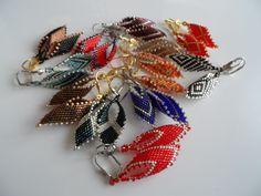 delica russian leaf earrings Beading Projects, Leaf Earrings, Charmed, Beads, Bracelets, Jewelry, Fashion, Beading, Moda