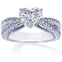Heart engagement rings are the most gorgeous and romantic engagement rings around! Here are my favorite beautiful heart shaped diamond engagement rings! Heart Diamond Engagement Ring, Heart Shaped Diamond Ring, Heart Shaped Engagement Rings, Heart Wedding Rings, Cool Wedding Rings, Wedding Rings Vintage, Diamond Wedding Rings, Wedding Jewelry, Heart Rings