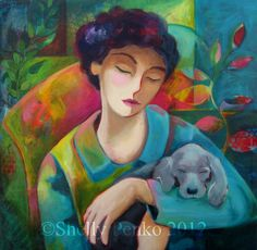 Tender Heart - Art By Shelly Penko - Colorful Woman With Dog Original Giclée Print on Canvas by shellypenko on Etsy Illustration Arte, Illustrations, Canvas Art, Canvas Prints, Thing 1, Heart Art, Teaching Art, Painting Inspiration, Original Paintings