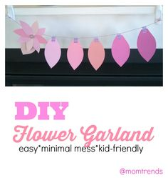 DIY Flower Garland | All you need is paper, twine and washi tape. Great Mother's Day Craft