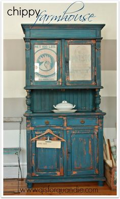 chippy farmhouse cabinet