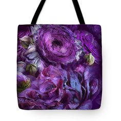 Peonies In Purples 2 tote bag featuring the art of Carol Cavalaris.