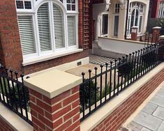 Fulham Brick Walls and Metal Rails & Gates - Landscape Garden Design Chelsea and Fulham Front Wall Design, Gates And Railings, House Front, Small Front Gardens, Victorian Front Garden, Wall Railing, Garden Design London, Garden Wall Designs, Brick Wall Gardens